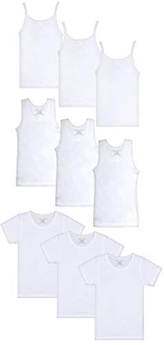 (Rene Rofe Girls Solid White Undershirts Variety Pack- Includes Cami, Tank and Crewneck (9 Pack), White, Size X-Large / 14-16')