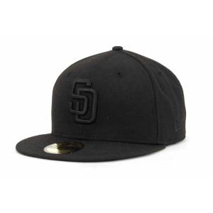 New Era 59Fifty San Diego SD Padres Blackout Fitted Hat (Black) Men's MLB Cap