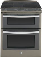 """GE PS950EFES Profile 30"""" Slate Electric Slide-In Smoothtop Double Oven Range - Convection"""