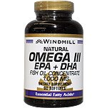 Windmill Omega 3 180 Softgels EPA and DHA Fish Oil Concentrate 1,000 Milligrams Windmill Vitamins Dietary Supplement Weight Loss Heart Health Essential Fatty Acids. Get the Daily Fatty Acids Your Body Needs! Omega 3 Formula Supports Proper Cellular Flexibility and Cardiovascular Health. Lower Blood Pressure, Cholesterol, Immune System Booster, Natural Energy Supplement, Gluten Free Supplement.