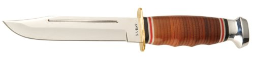 Ka-Bar Leather Handled Marine Hunter Knife, Outdoor Stuffs