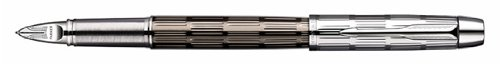 Parker IM Premium Twin Metal Chiseled, Parker 5th Technology Ink Pen with Medium Black refill (S0976060)