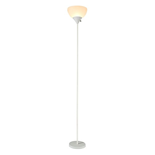 Sunllipe LED Torchiere Floor Lamp - 70 Inches Sturdy Standing 9W Integrated LED Energy Saving Uplight for Living Room, Dorm, Bedroom, and Office - White (Floor Lamps White)