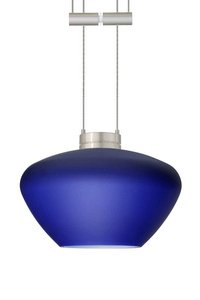 Besa Lighting 1XT-541087-LED-BR 1X6W Led Lightsource Peri Pendant with Blue Matte Glass, Bronze - Blue Peri Decorative Glass