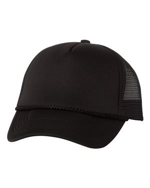 - Foam Trucker Cap, Color: Black/ Black, Size: One Size