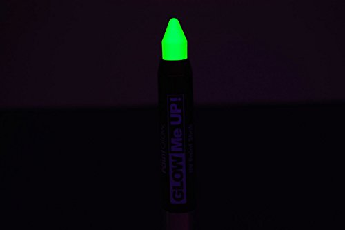 PaintGlow Neon Green UV Blacklight Reactive Make Up Body Paint Stick - Glow In The Dark Makeup Sticks