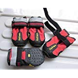 Colorfulhouse Waterproof Pet Boots for Medium to Large Dogs Labrador Husky Shoes 4 Pcs (Red, 5 (2.7
