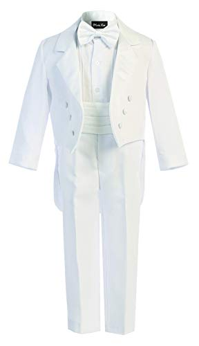 OLIVIA KOO Boy's Classic Ring Boy Signature Tuxedo Set With Tail,White,Small -