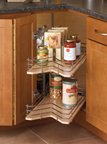 Wood Kidney Shaped Lazy Susan Drawer Systems Dependently Rotating, Two Shelf Sets with Pull Out Drawers