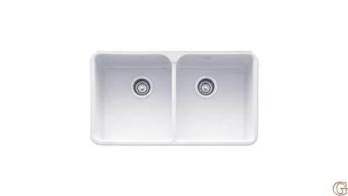 Franke Manor House Drop in/Farmhouse Fireclay Kitchen Sink MHK720-31WH White ()