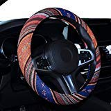 SHIAWASENA Car Steering Wheel Cover, Coarse Flax Cloth, Ethnic Style, Universal 15 Inch Fit, Anti-Slip Sweat-absorbent - Flax Car