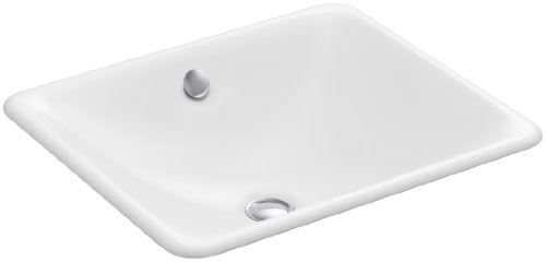 Vintage Undermount Bathroom Sink - Kohler K-5400-0 Cast Iron undermount Square Bathroom Sink, 23.75 x 20.25 x 9.25 inches, White