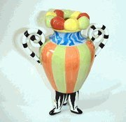Ceramic Vases 3Rg4832-7 Erich Emmenegger Colorful 3-Legged Striped Jester Vase 10 In. 4.75 X 10 X 4.75 Inches Multicolored