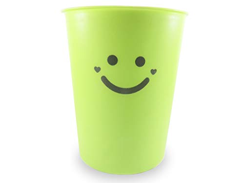 Neon Green Wastebasket Plastic with Dustpan and Brush 1.5 Gallon 9.75 Inches Tall - The Happiest Wastebasket and Dustpan on Earth (3 Piece Set) by Daiso Japan (Image #1)
