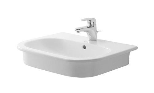 Duravit 0337540030 D-Code Three-Hole Countertop Vanity Basin, White Finish