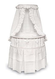 (Elegance Round Wooden Baby Bassinet with Bedding, Canopy, and Storage )