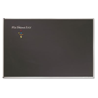Porcelain Black Chalkboard w/Aluminum Frame, 48 x 36, Silver, Sold as 1 Each by Quartet