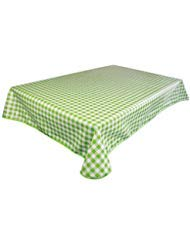 Lavin Overlock Edge Vinyl Tablecloth PVC Table Cloth Table Cover Plastic, Wipe Clean Heavy Duty Waterproof Oil Cloth Oil-proof Satin-resistant, Rectangle, Green Checker, 55x78 Inch ()