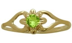 14 Karat Yellow Gold Genuine Peridot Flower Solitaire Baby Ring - SIZE 3 by Elite Jewels
