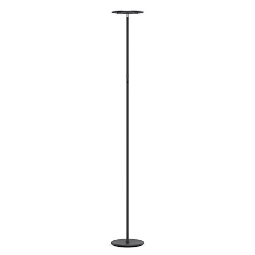 Vacnite LED Torchiere Floor Lamp, Smart-Touch-Dimming, 71-Inch, 3500 lumens,36-Watt, Warm White for Bedroom Living Room Office - Simple Streamlining Black