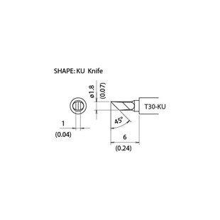 Hakko T30-KU 1.8mm/45° x 6mm Micro Knife Tip (Hakko Tip Knife)