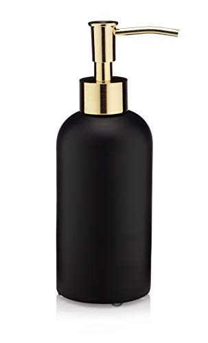 EssentraHome Matte Black Liquid Soap Dispenser with Metal Brushed Gold Pump for Bathroom, Bedroom or Kitchen. Great for Hand Lotions and Essential Oils. 10 Fluid Ounce