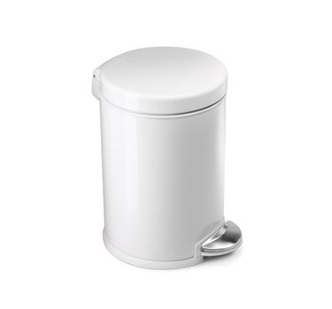 simplehuman 4.5-Liter/1.2-Gallon Round Step Trash Can, White Steel (White Kitchen Pedal Bin)