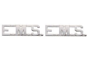 EMT E.MS. EMERGENCY MEDICAL SERVICES Paramedic Collar Lapel Pins Brass Insignia Emblem 1/2