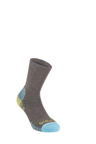 Bridgedale Women's Lightweight Boot Height - Merino Endurance Socks, Brown/Lime, Small