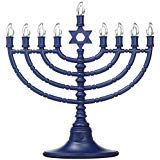 Rite Lite LTD Led Menorah Battery Operated Tinted Blue Bulbs ()