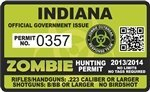 "Indiana IN Zombie Hunting Permit Decal 4"" x 2.4"" Outbreak Sticker"