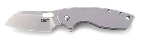 (CRKT Pilar II Large EDC Folding Pocket Knife: Everyday Carry, Satin Blade, Flipper Open, Frame Lock, Stainless Steel Handle, Reversible Pocket Clip)