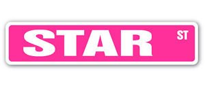 STAR Street Sticker Sign name childrens room door gift kid child boy girl wall - Street Sign Star