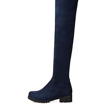 Bourgogne Décontracté Confort amp;xuezi à 4 Automne Femme Noir Talon blue 2 5 Hiver GLL Bleu Bottes Polyuréthane cm 5 Gros RC7ttq