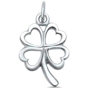 Plain Solid Four Leaf Clover Good Luck Charm 925 Sterling Silver Pendant - Jewelry Accessories Key Chain Bracelet Necklace Pendants