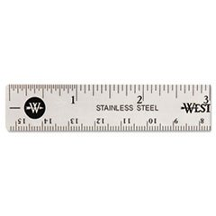(3 Pack Value Bundle) ACM10414 Stainless Steel Office Ruler With Non Slip Cork Base, 6