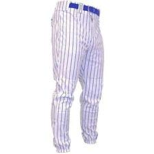 Rawlings Adult Pinstripe Baseball Pants, White/Royal, 2XL