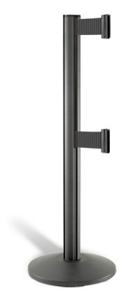 Lavi Industries 50-3000DL-WB-BK Beltrac 3000 7 Ft. Double-Belted Crowd Control Post - Black Beltrac Post