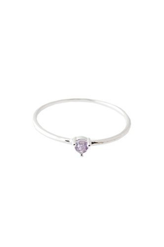 (HONEYCAT Purple Amethyst Crystal Point Ring in Sterling Silver Plate | Minimalist, Delicate Jewelry (Silver 7))