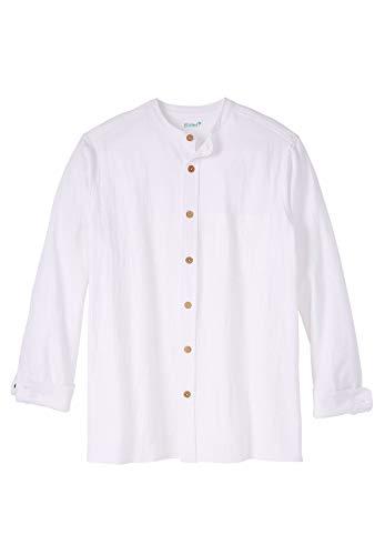 KingSize Men's Big & Tall Gauze Mandarin Collar Button-Down Shirt, White Big-5XL ()