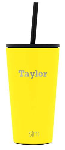 Simple Modern Personalized Gift Tumbler Custom, Classic 16oz - Straw & Flip Lid, Sunshine