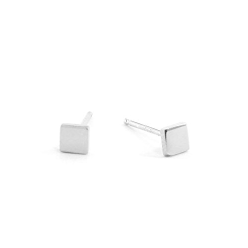 Sterling Silver SQUARE Disk Stud Earring (Silver) (Sterling Silver Design Square)