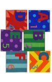 (Joy Carpets Kid Essentials Misc Solid Color Letters and Numbers Area Rug, Multicolored, 16