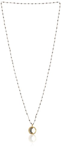 (Pyrite Gold Plated Celestial Moon Pendant Necklace, 30 inches)