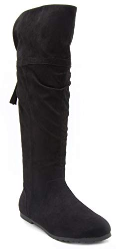 Rampage Women's Bora Tall Shaft Flat Boot Knee High Slouch Boots with Tassel Black 10