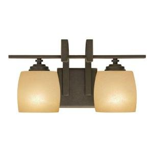 Hampton Bay 2-Light Bronze Vanity Light with Scavo Glass Shade
