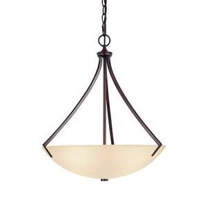 Capital Lighting 4038BB Pendant with Mist Scavo Glass Shades, Burnished Bronze - Mist Glass Scavo