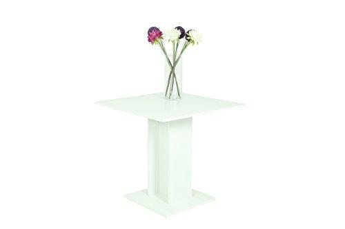 Apollo 020708 Säulentisch Mandy, 80 x 80 x 76 cm, Dekor Weiß matt, Säule mit Bodenplatte