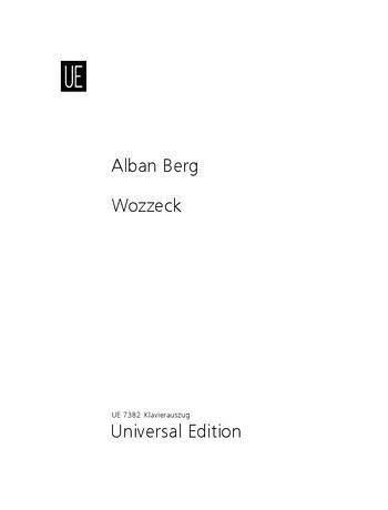 Partition classique UNIVERSAL EDITION BERG ALBAN - WOZZECK - CHANT/PIANO Choeur et ensemble vocal 62203