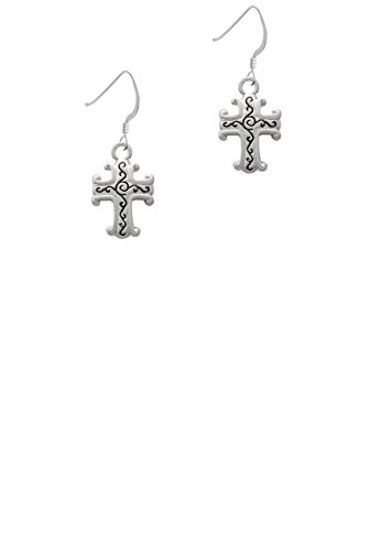 Scroll Cross with Antiqued Decoration - French Earrings